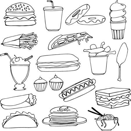 hand drawn vector illustration designs of fast food