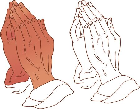 vector illustration of praying hands. a file of linear drawing and color illustration. Ilustracja