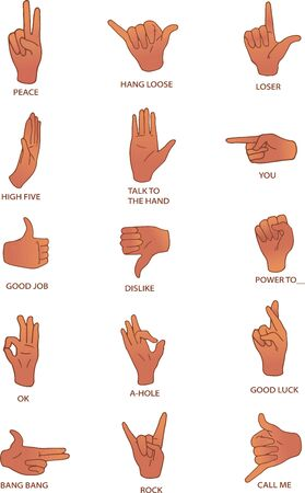 Vector illustrations of hand gestures with their meanings. Ilustracja