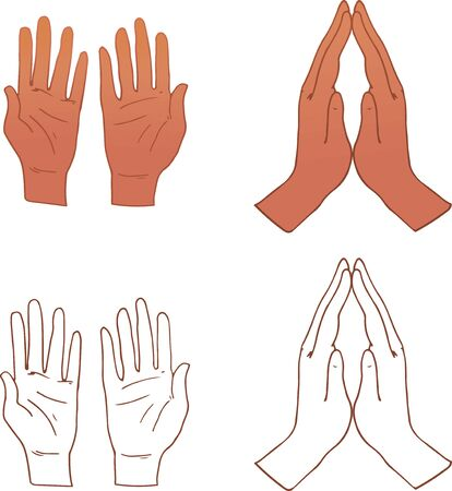 vector file of two types of praying hands illustration.