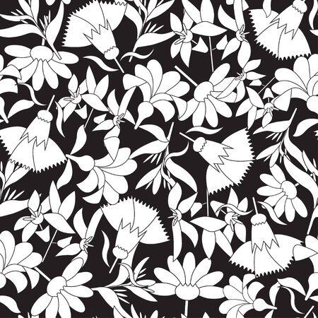 Vector black and white linear floral seamless pattern. Ilustración de vector
