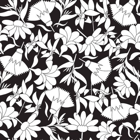 Vector black and white linear floral seamless pattern. Vecteurs
