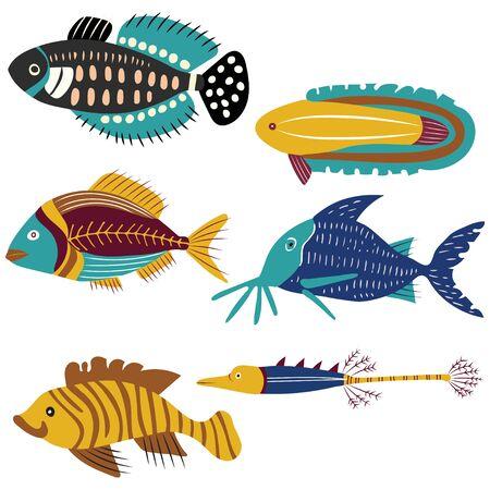 six colorful vector decorative fish forms file. Ilustracja