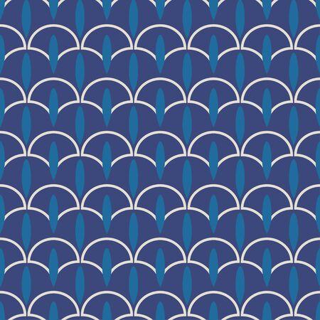 vector teardrop shaped indigo dabu seamless pattern.