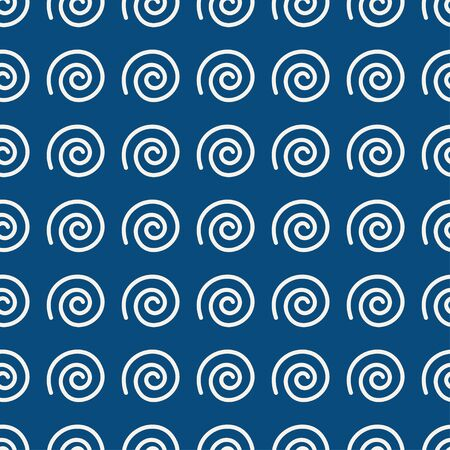 vector spiral indigo dabu print seamless repeat pattern.