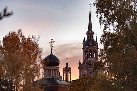 Gothic Orthodox Cathedral. Neo-Gothic Orthodox Church with Masonic symbols. Church at sunset.