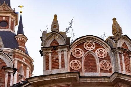 Gothic Orthodox Cathedral. Neo-Gothic Orthodox Church with Masonic symbols. Five-pointed star on the bottom of the temple.