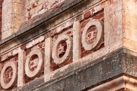 Gothic Orthodox Cathedral. Neo-Gothic Orthodox Church with Masonic symbols. Circles on the bas-relief.
