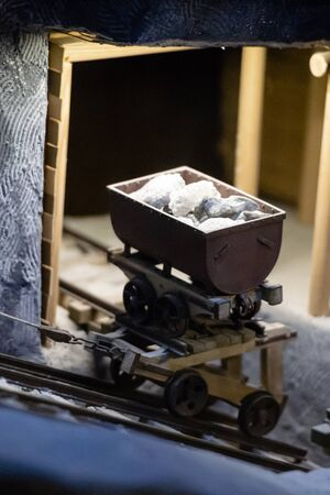 Layout of the trolley in the mine. Miniature trolley with a load of rock salt.