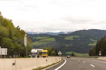 Roads Of Austria. Austrian highway with beautiful views. Photo from the car.
