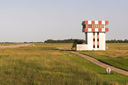 Bratislava Airport. The control tower at the airport of Bratislava. Old flight control building. Stock Photo