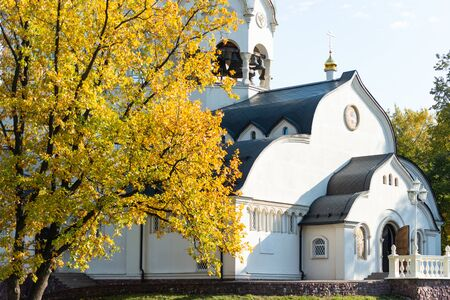 Orthodox church. Church of new Martyrs and Confessors of Russia in Butovo. Bell tower with bells. Stock Photo
