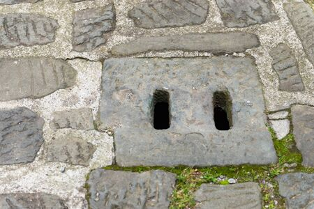 Storm water drain. Ancient water grid in Krakow.
