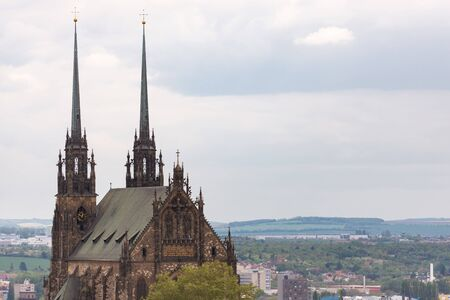 The Cathedral of Brno. View from the hill to the city center. City panorama. Stock Photo