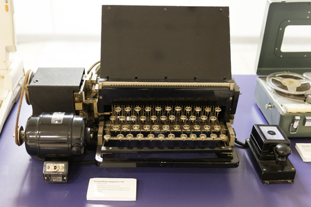 Morse puncher P-1-110 1940. The old apparatus of the Morse system in TASS. Editorial