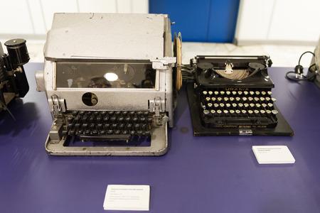 Letter-printing teletype ST-35. Antique German typewriter URANIA. Editorial