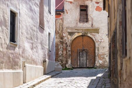 Historical center of Bratislava. Old city without people. Medieval houses in Slovakia. Фото со стока