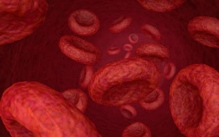 Microscopic 3D shot of stream of blood cells