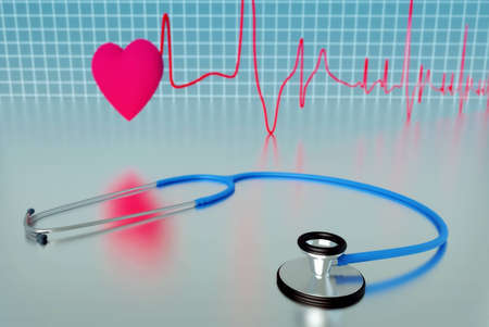 stetoscope: Stetoscope with cardiogram and heart in background