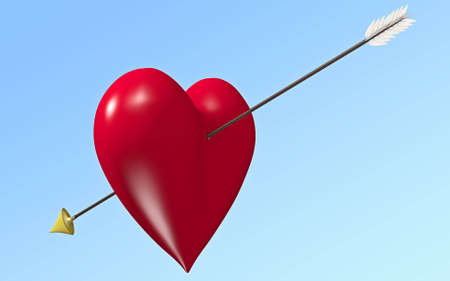 separated: Red shiny heart with  arrow separated by path in jpeg
