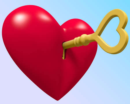 jpeg: Red shiny heart with key separated by path in jpeg  Stock Photo