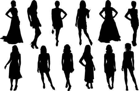 model posing: Vectors silhouette of posing women and girls Illustration