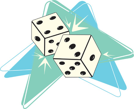 Fully editable vector illustration of retro-styled dice. See my gallery for more in this series.