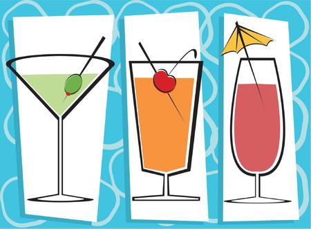 Fully editable vector illustration of three contemporary drinks.