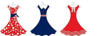 hangers: Fully editable vector illustration of retro sundresses. Illustration