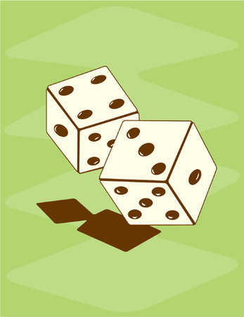 Vector illustration of retro-style dice on a green backdrop.See my gallery for more in this series.