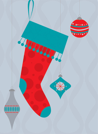 vector vector illustration of a retro christmas stocking and ornaments - Vintage Christmas Stockings