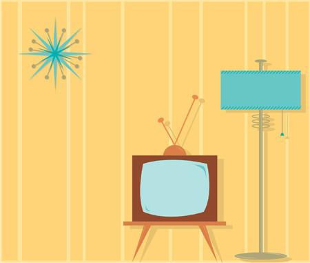 lamp shade: Retro-styled vector illustration of a tv room. Illustration