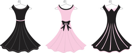 Fully editable vector illustration of pink and black formal dresses. Vectores
