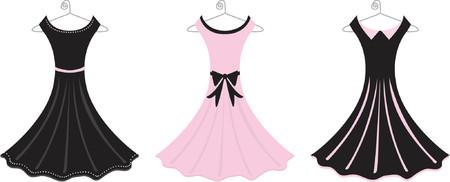 hangers: Fully editable vector illustration of pink and black formal dresses. Illustration