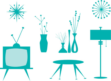 Vector illustration of interior design elements.