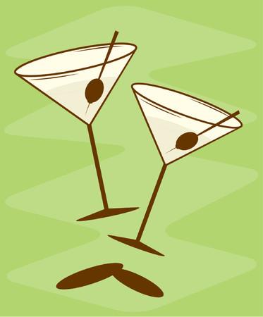 bartender: Enti�rement �ditables illustration vectorielle de style r�tro-martini verres. Voir ma galerie pour plus de cette s�rie.  Illustration