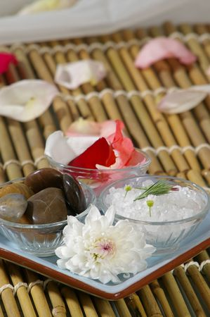 destress: A blue tray of spa preparations in a peaceful setting. Stock Photo
