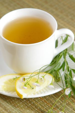 Cup of healthy green tea with herbs.