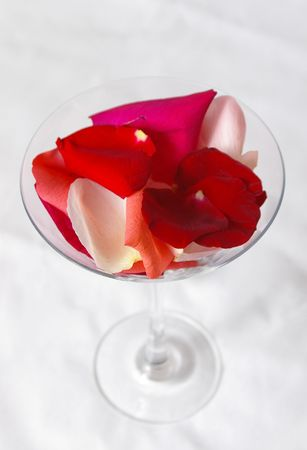 A mock-cocktail of rose petals. Stock Photo