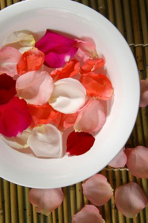 A therapeutic soak with rose petals.