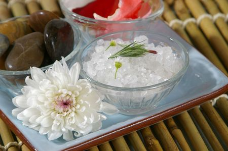 Spa tray- focus on bath salts. photo