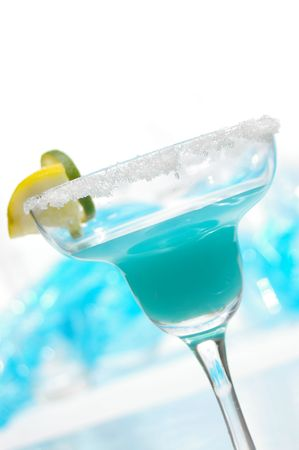 bartend: Flirty blue drink at a fun angle. Stock Photo