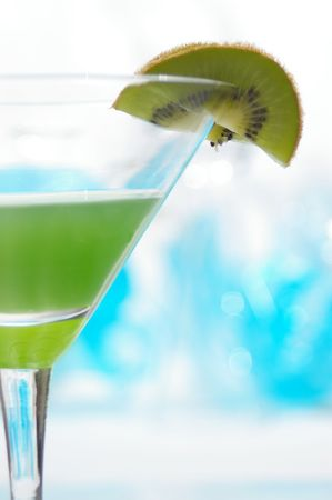Closeup on a fruity kiwi-tini.
