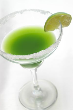 Lime green cocktail.