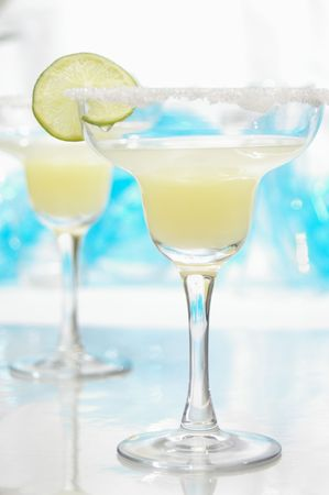 Margarita with salt and lime. photo