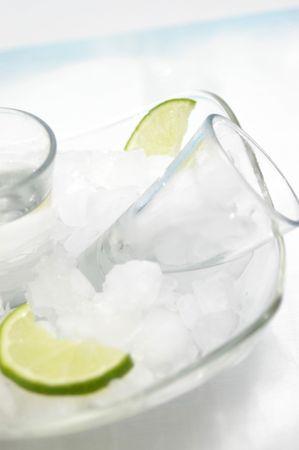 Vodka shots over ice. Stock Photo - 442120