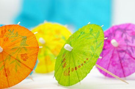 Colorful paper umbrellas.