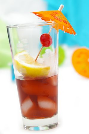 toothpick: A fruity drink with a tropical feel. Stock Photo