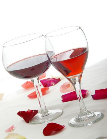 Romantic red wines at an angle.