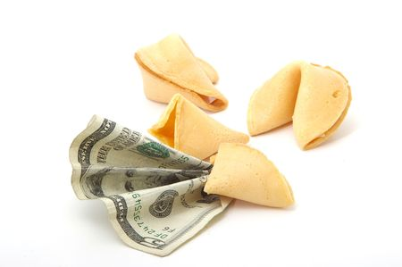 A fortune cookie predicts a positive financial future.